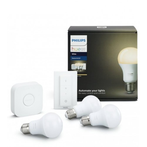 Комплект умных ламп Philips Hue White E27 Starter Kit с пультом ДУ и блоком управления