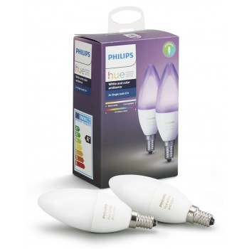 Умная лампа Philips Hue White and Color Ambiance E14 (2шт)