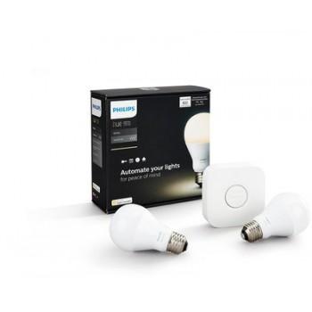 Умная лампа Philips Hue White E27 Starter Kit (2шт) + блок управления