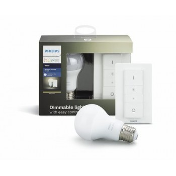 Умная лампа Philips Hue White E27 Starter Kit + пульт ДУ